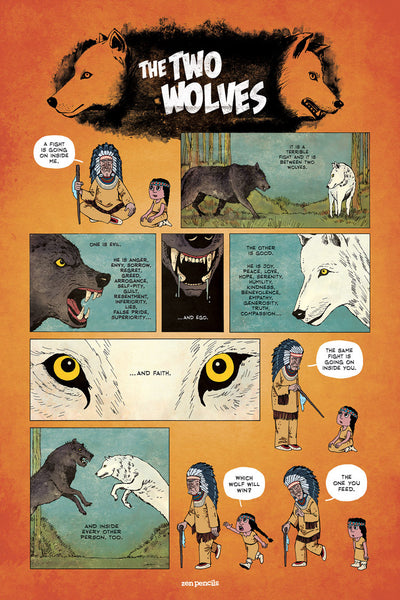 The Two Wolves Poster By Zen Pencils