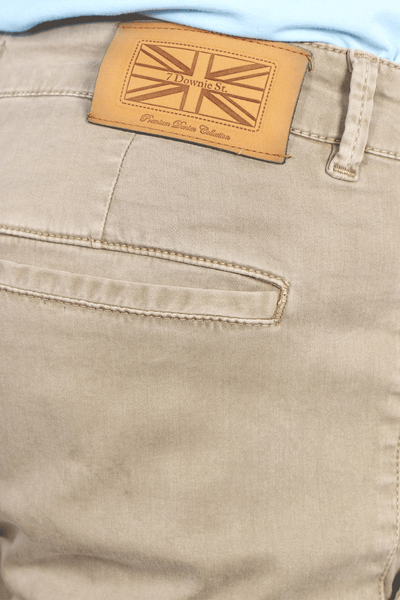 Flat Front Stretch Pants in Oatmeal
