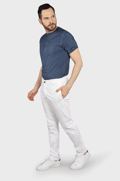 Flat Front Stretch Pants in White