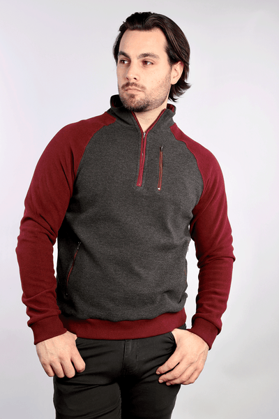 Polaris 1/4 Zip Sweater - Burgundy - 7 Downie St.®