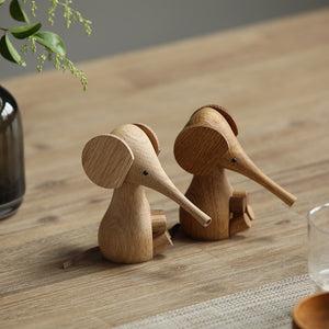 Solid Wooden Elephant Figure