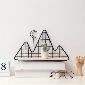 Moon + Mountain Metal Wall Shelf