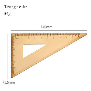 Vintage Brass Ruler, Triangle, Protractor