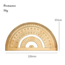 Load image into Gallery viewer, Vintage Brass Ruler, Triangle, Protractor