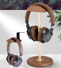 Load image into Gallery viewer, Solid Wood and Brass Headphone Stand