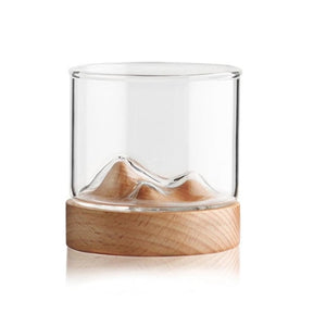 Glass and Wood Mountain Tumbler