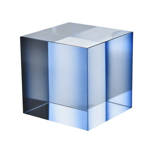 Nordic Blue Glass Cube Paperweight