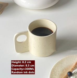 Modern Flat Handle Speckled Coffee Mug
