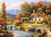 Charming Riverside Village Paint By Numbers Kits Uk VM91034