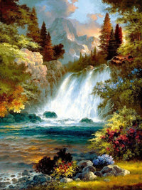Landscape Mountain Waterfall Diy Paint By Numbers Kits Uk VM91580