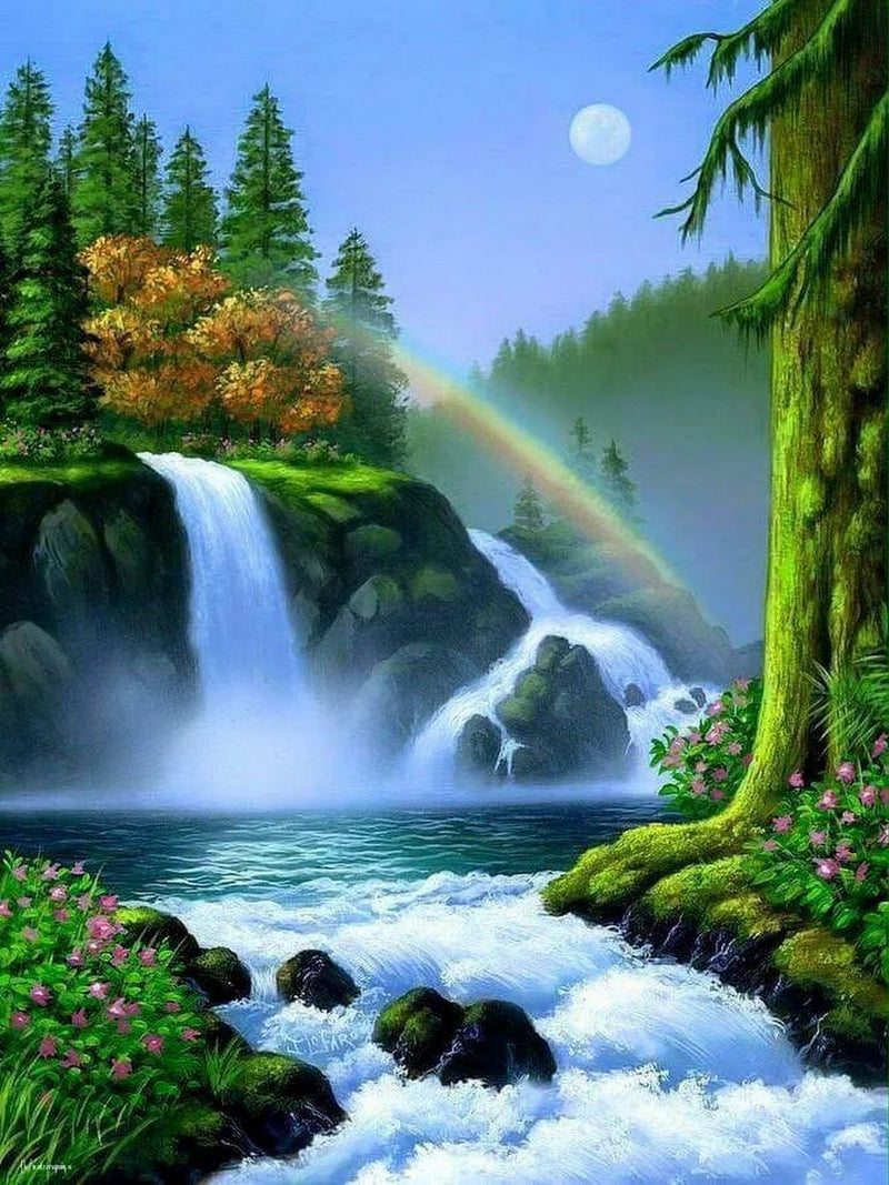 Landscape Waterfall Diy Paint By Numbers Kits Uk ZXQ3274
