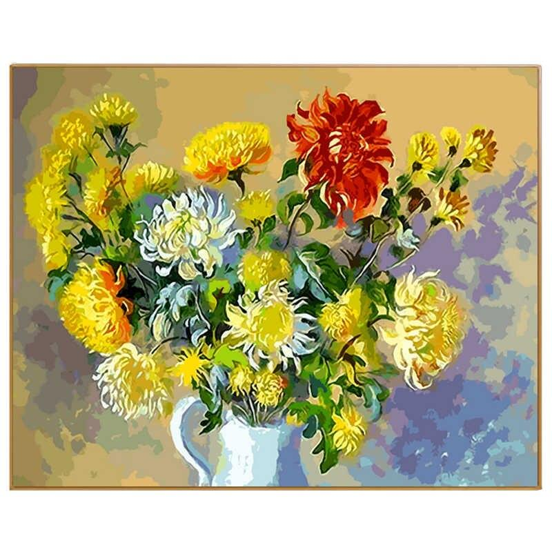 Flower Diy Paint By Numbers Kits Uk PBN92838
