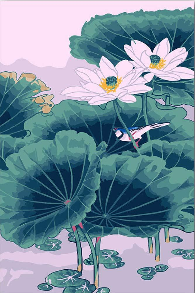 Chinese Style Lotus Diy Paint By Numbers Kits UK VM94124