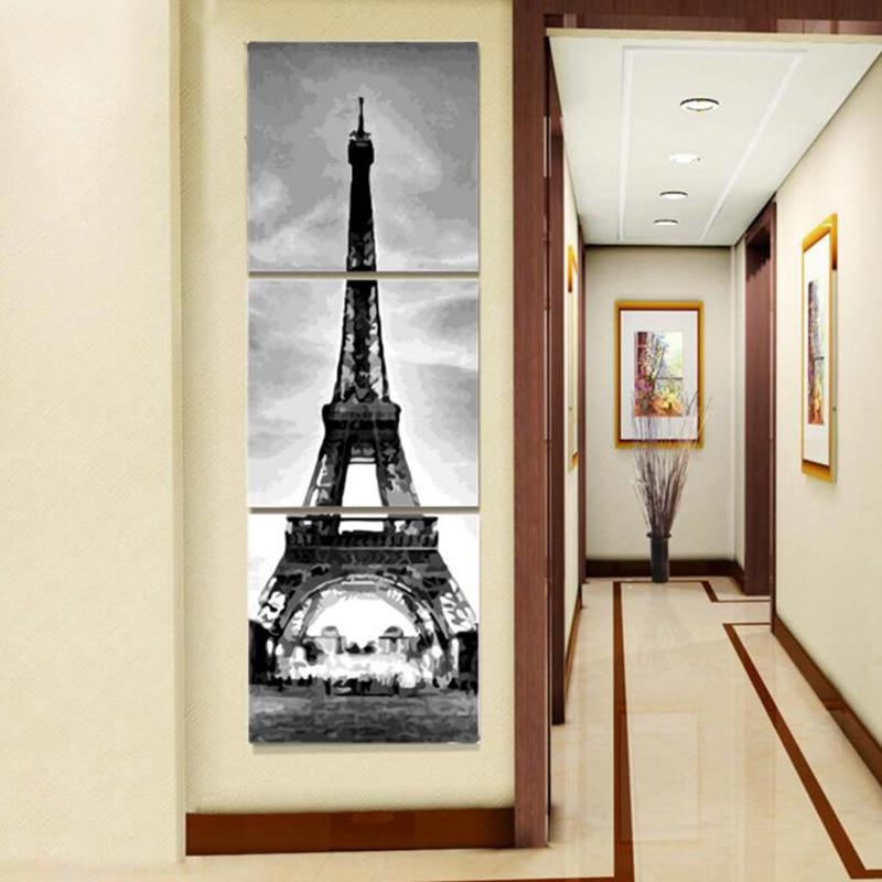 3PCS Multi Panel Eiffel Tower Diy Paint By Numbers Kits Uk PBN94320