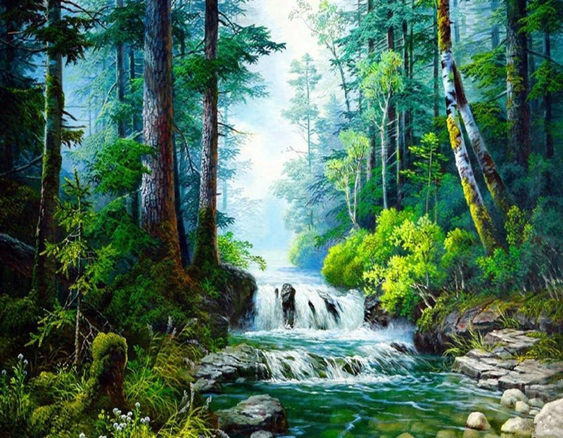 Landscape Waterfall Diy Paint By Numbers Kits UK VM97896