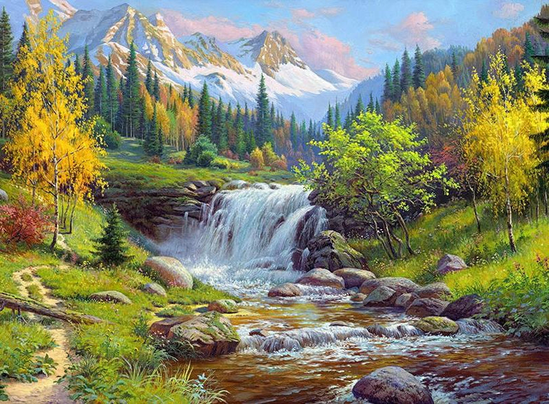 Landscape Waterfall Diy Paint By Numbers Kits UK PBN97899