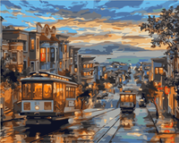 Landscape Nightfall Street Paint By Numbers Kits Uk SY-4050-036