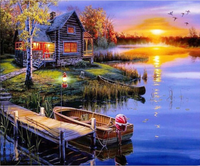 Landscape Lake Village Diy Paint By Numbers Kits Uk PBN00051