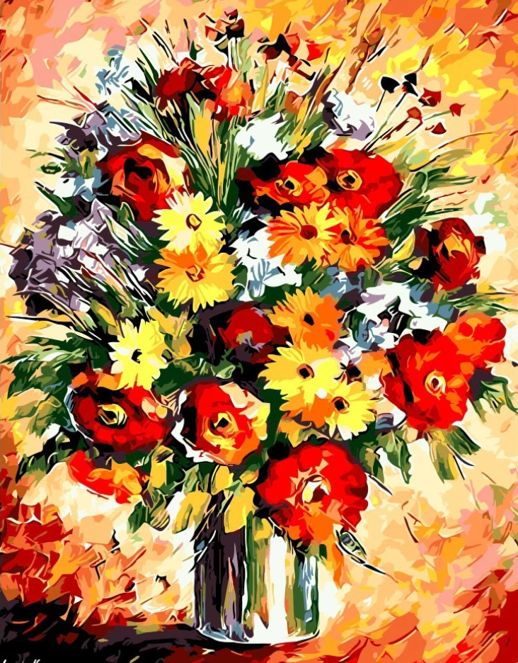 Flower Diy Paint By Numbers Kits Uk PBN92795