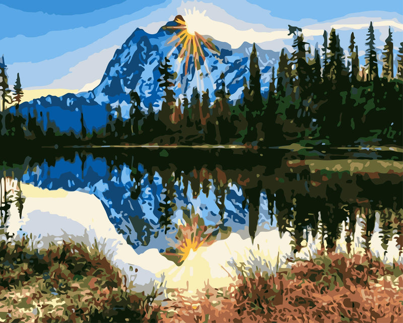 Landscape Nature Lake Mountain Diy Paint By Numbers Kits Uk WM-092
