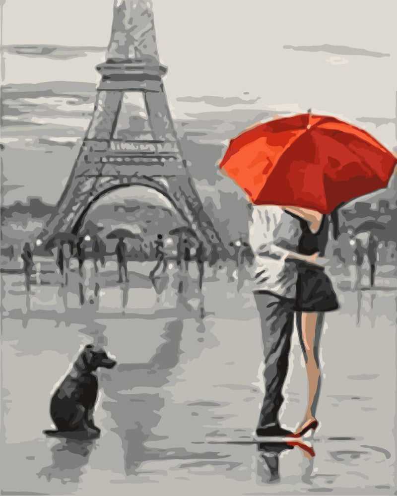 Lovers Under Umbrella Diy Paint By Numbers Kits Uk WM-1084 ZXQ2379