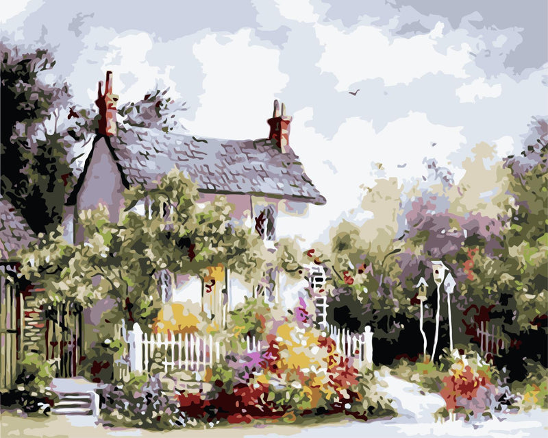 Landscape Cottage Flowering Yard Diy Paint By Numbers Kits Uk WM-1258