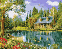 Landscape Quite Lakeside Cottage Diy Paint By Numbers Kits Uk WM-205