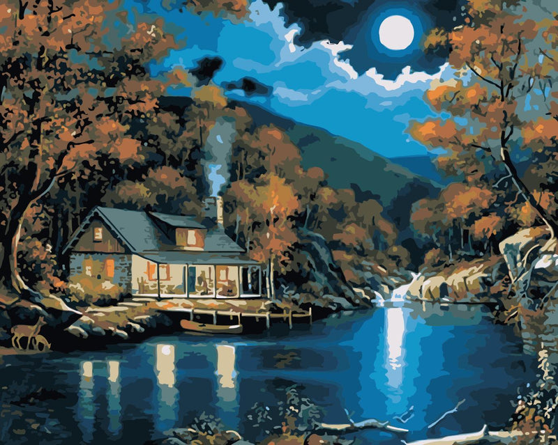 Cottage By The Lake Diy Paint By Numbers Kits Uk WM-382