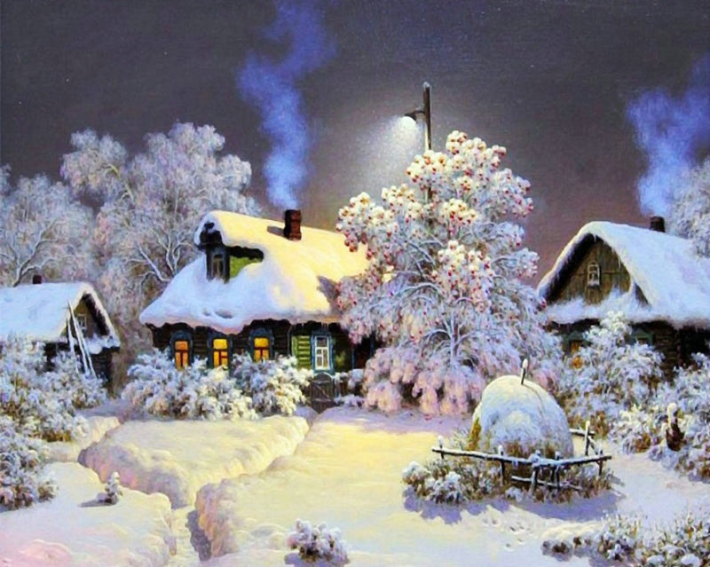 Landscape Quiet Snow Village Diy Paint By Numbers Kits Uk WM-517