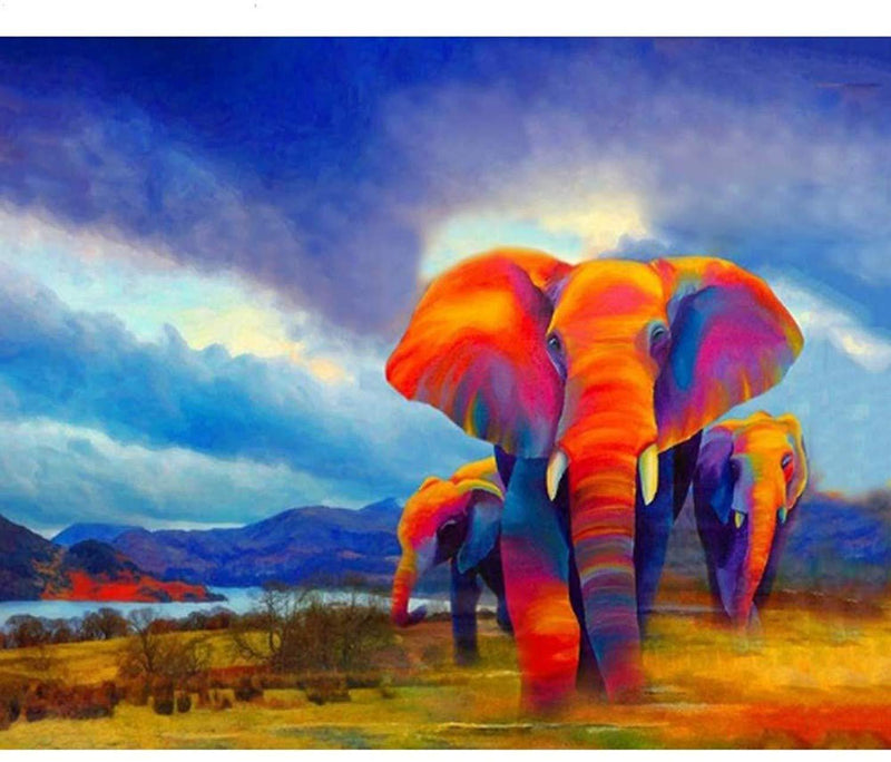 Animal African Colorful Elephants Diy Paint By Numbers Kits Uk VM00190