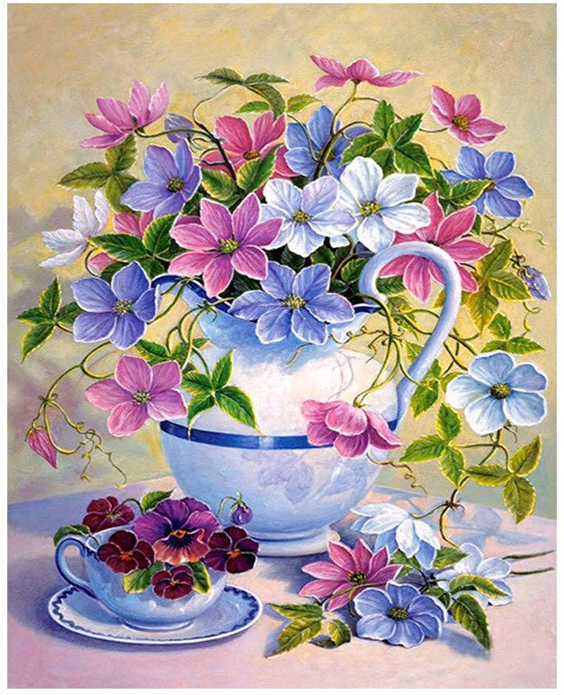 Colorful Flower Diy Paint By Numbers Kits UK PBN97006
