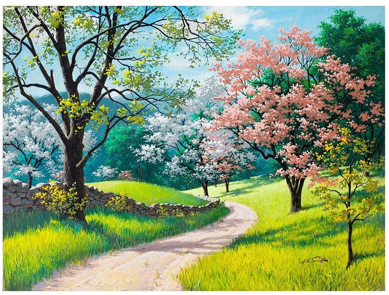 Cherry Blossoms Landscape Diy Paint By Numbers Kits UK VM97289