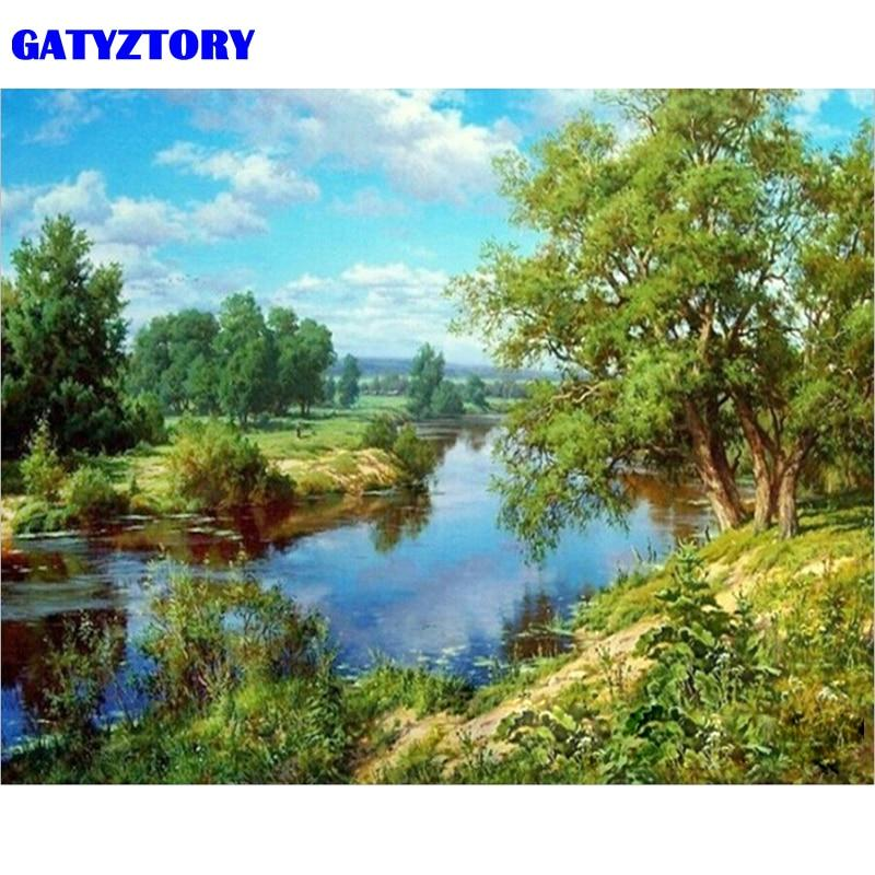 Landscape Nature Beautiful Riverside Scenery Diy Painting by numbers PBN00165