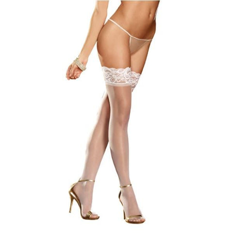 Lace Top Thigh White O/S