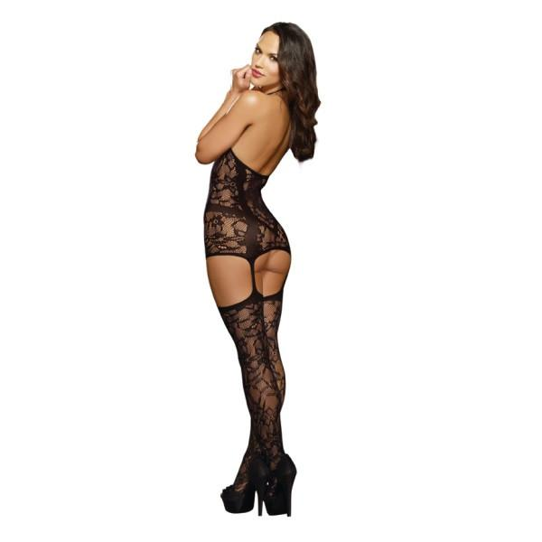 Lace Fishnet Halter Garter Dress Black O/S