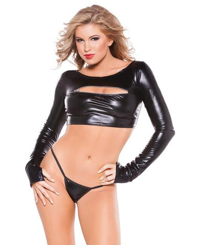 Kitten Wet Look Zipper Top O/S