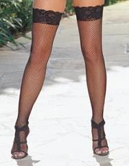 Thigh High Fishnet Lace Black Os Insevillein by  DRMG -