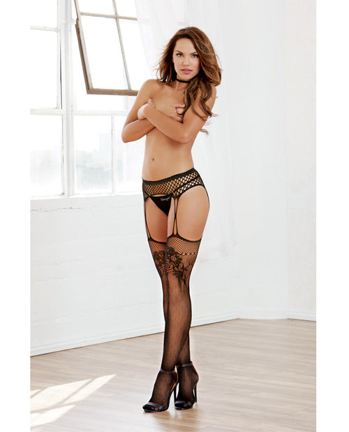 Stretch Fishnet Grter Belt Style Pntyhose w/Atched Criss Cross Grtrs & Thgh High Stockgs Black O/S