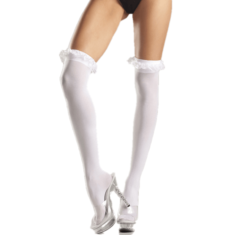 Sheer Thigh W/Garter Lace Ruffle Top