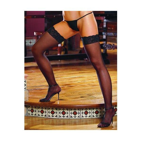 Thigh High Sheer Lace Black Os Inambrosein