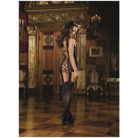 Lace Up Back Garder Dress W/ Attached Stocking Blk O/S