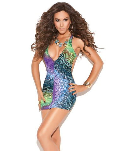 Deep V Mini Dress Multi Color O/S