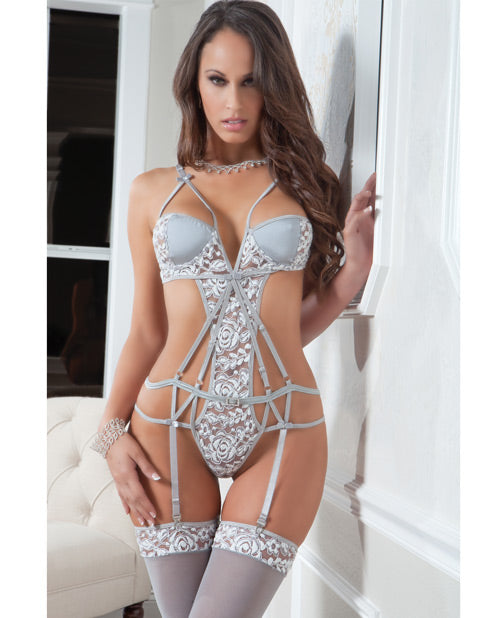 Strappy Chantilly Lace Teddy w/Stockings Lace Vintage Gray O/S