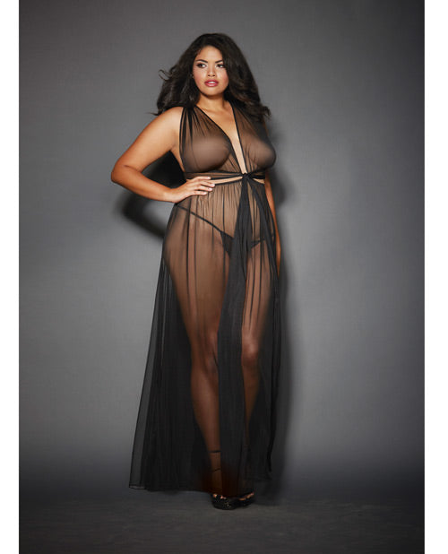 Sheer Mesh Gown w/Cut Out Sides & Ties in Back w/G-String Black QN