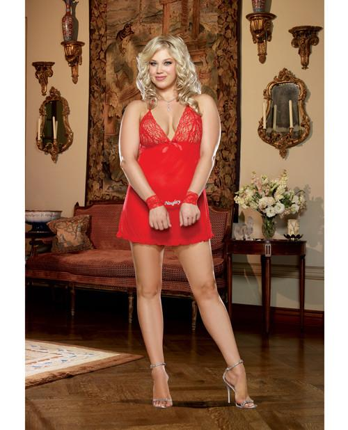 Babydoll W/Pant Red Queen Size by  DRMG -
