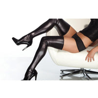 Wet Look Thigh High Stockings Black