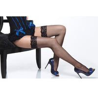 Lace Top Fishnet Thigh Highs Black
