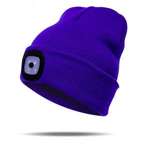 LED Light Cap Warm Knitted Hat Outdoor Fishing Running Beanie Hat Autumn Winter Flash headlight Camping Climbing Caps #08
