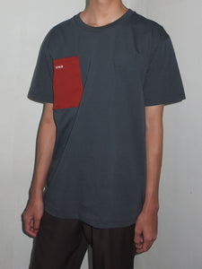 Grey T-shirt With Red Pocket