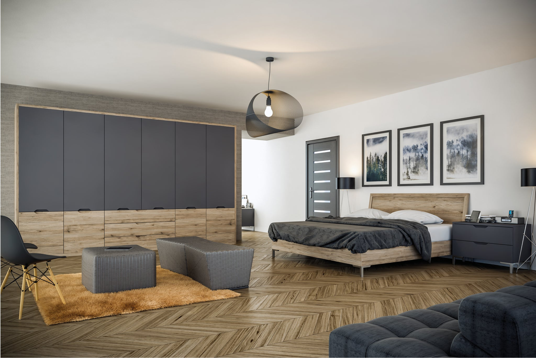 Integra wardrobes in matt graphite